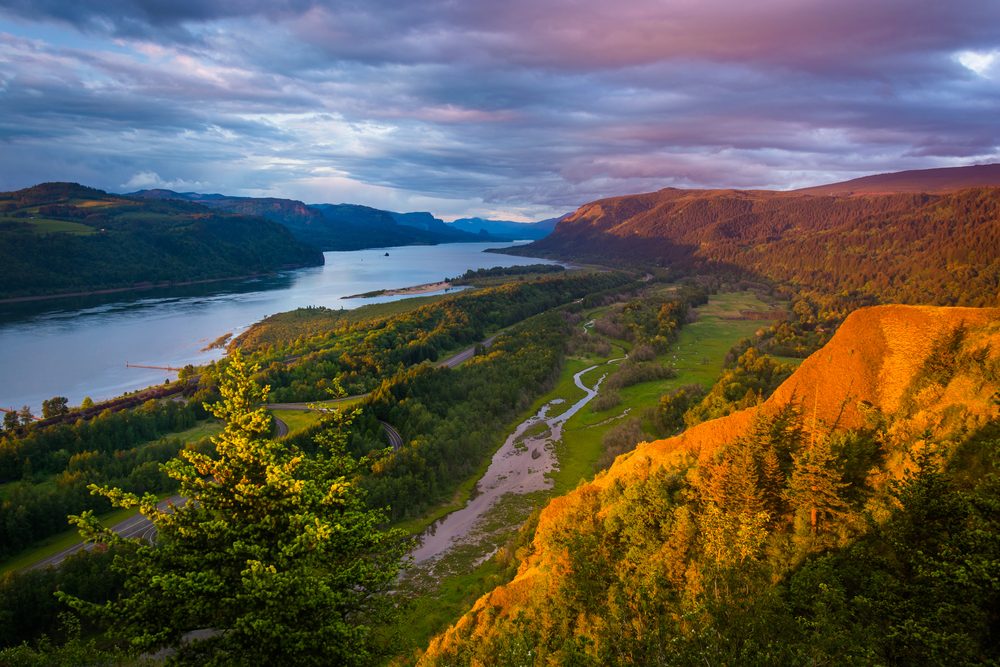 Evening view from the Vista House, Columbia River Gorge, Oregon.